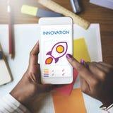 Concepto del móvil de la tecnología de la transformación de la innovación Foto de archivo libre de regalías