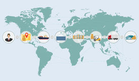 Concepto del mapa del mundo de infographics del servicio de envío de la entrega de la logística del cargo Fotografía de archivo libre de regalías