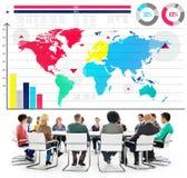 Concepto del mapa del mundo del crecimiento del gráfico de negocio global Fotografía de archivo