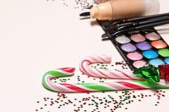 Concepto del maquillaje de la fiesta de Navidad Fotografía de archivo