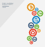 Concepto del mecanismo de entrega Fondo abstracto con los engranajes y los iconos conectados para logístico, estrategia, servicio libre illustration