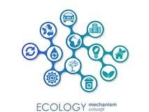 Concepto del mecanismo de la ecología Fondo abstracto con los engranajes y los iconos conectados para el eco amistoso, energía, a stock de ilustración