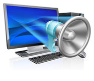 Concepto del megáfono del ordenador Imagen de archivo libre de regalías