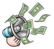 Concepto del megáfono del dinero ilustración del vector