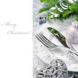 Concepto del menú de la Navidad en tono plateado Foto de archivo libre de regalías