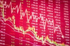 Concepto del mercado de acción de la crisis, descenso del gráfico rojo Imagen de archivo