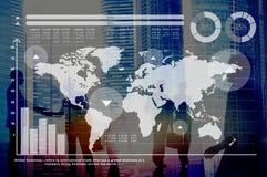 Concepto del mercado de acción de las finanzas del crecimiento del gráfico de negocio global Imágenes de archivo libres de regalías