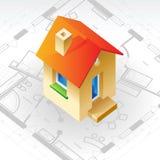 Concepto del modelo y de la casa stock de ilustración