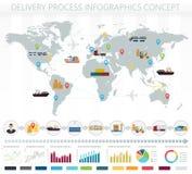 Concepto del mundo de infographics del servicio de carga del envío de la entrega de la logística Imagenes de archivo