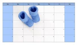 Concepto del nacimiento: botines del bebé en un calendario imagen de archivo