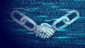 Concepto del negocio del apretón de manos del acuerdo de la tecnología de Blockchain bajo polivinílico Diseño de los números de c Foto de archivo libre de regalías