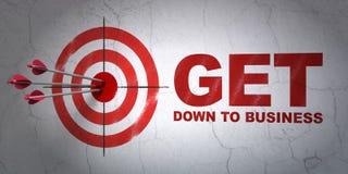 Concepto del negocio: apunte y consiga abajo al negocio en fondo de la pared Fotos de archivo