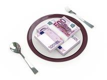 Concepto del negocio - billetes de banco de la placa, de los cubiertos y del euro Imagen de archivo