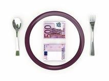 Concepto del negocio - billetes de banco de la placa, de los cubiertos y del euro Foto de archivo libre de regalías