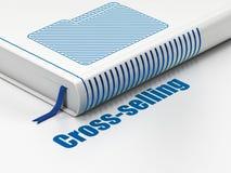 Concepto del negocio: carpeta del libro, vendiendo en 'cross-sell' en el fondo blanco Imagen de archivo