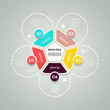 Concepto del negocio con 5 opciones, porciones, pasos o procesos Plantilla para el diagrama, el gráfico, la presentación y la car ilustración del vector