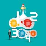 Concepto del negocio con Rocket And Infographic Elements stock de ilustración
