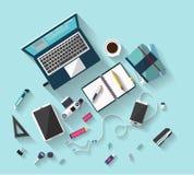Concepto del negocio - concepto del trabajo - diseño plano - lugar del trabajo Imagen de archivo