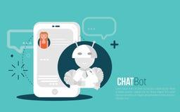 Concepto del negocio de Chatbot Muchacha del usuario que charla con la aplicación móvil del robot Concepto del Bot en estilo mode Imagen de archivo