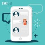 Concepto del negocio de Chatbot Muchacha del usuario que charla con la aplicación móvil del robot Concepto del Bot en estilo mode Fotos de archivo libres de regalías