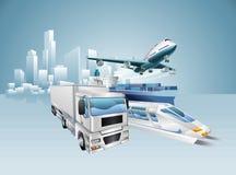 Concepto del negocio de la ciudad de la logística stock de ilustración