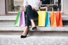 Concepto del negocio, de la forma de vida y de las compras Foto de archivo