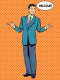 Concepto del negocio de la recepción del hombre de negocios del hombre ilustración del vector
