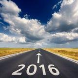 Concepto del negocio del camino por el Año Nuevo próximo 2016 Foto de archivo libre de regalías