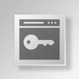 concepto del negocio del icono de la llave 3D Fotografía de archivo libre de regalías