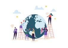 Concepto del negocio global con los caracteres que trabajan junto Gente que comunica en proceso del trabajo Cooperación del traba ilustración del vector