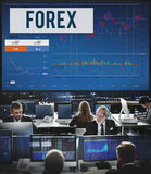 Concepto del negocio global del gráfico de la bolsa de acción de las divisas Foto de archivo libre de regalías