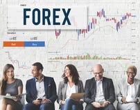 Concepto del negocio global del gráfico de la bolsa de acción de las divisas Fotografía de archivo libre de regalías