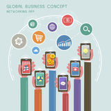 Concepto del negocio global en diseño plano Fotos de archivo libres de regalías