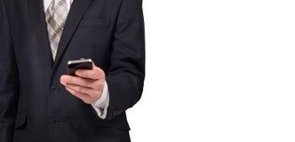 Concepto del negocio, hombre de negocios con smartphone Tecnología mundial de la conexión Foto de archivo