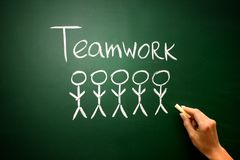 Concepto del negocio: Hombres de negocios trabajo en equipo del icono y del texto en chal Fotografía de archivo libre de regalías