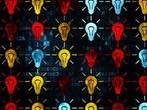 Concepto del negocio: Iconos de la bombilla en Digitaces Imagenes de archivo