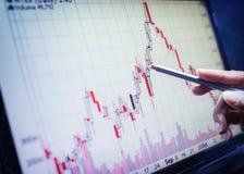 Concepto del negocio, informe del análisis del gráfico de negocio Compruebe la acción del gráfico en monitor Foto de archivo libre de regalías