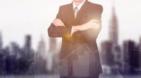Concepto del negocio las estadísticas del crecimiento y del aumento del ` s de la compañía Un líder acertado Exposición doble Fotos de archivo