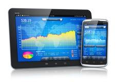 Mercado de acción en los dispositivos móviles Imagen de archivo libre de regalías