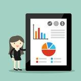 Concepto del negocio, mujer de negocios que da la presentación y que explica cartas stock de ilustración