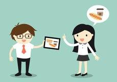 Concepto del negocio, mujer de negocios y hombre de negocios que van a pedir la comida en línea ilustración del vector