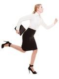 Concepto del negocio. Mujer que corre en el cuerpo completo aislado Imagen de archivo libre de regalías