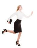 Concepto del negocio. Mujer que corre en el cuerpo completo aislado Foto de archivo libre de regalías