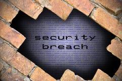 Concepto del negocio para el agujero de seguridad de los datos en pared de ladrillo con el compartimiento Imagen de archivo