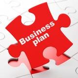 Concepto del negocio: Plan empresarial en fondo del rompecabezas Imágenes de archivo libres de regalías