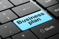 Concepto del negocio: Plan empresarial en fondo del teclado de ordenador Foto de archivo libre de regalías