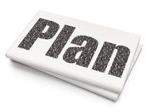 Concepto del negocio: Plan en fondo en blanco del periódico Foto de archivo