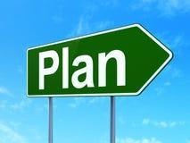 Concepto del negocio: Plan en fondo de la señal de tráfico Imagen de archivo libre de regalías