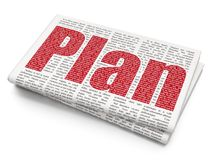 Concepto del negocio: Plan en fondo del periódico Fotos de archivo
