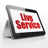 Concepto del negocio: Tableta con Live Service en la exhibición Imagenes de archivo